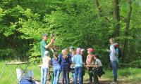 Ranger Maik Rogel zeigt den Kindern alles zu Geweih- und Hornarten